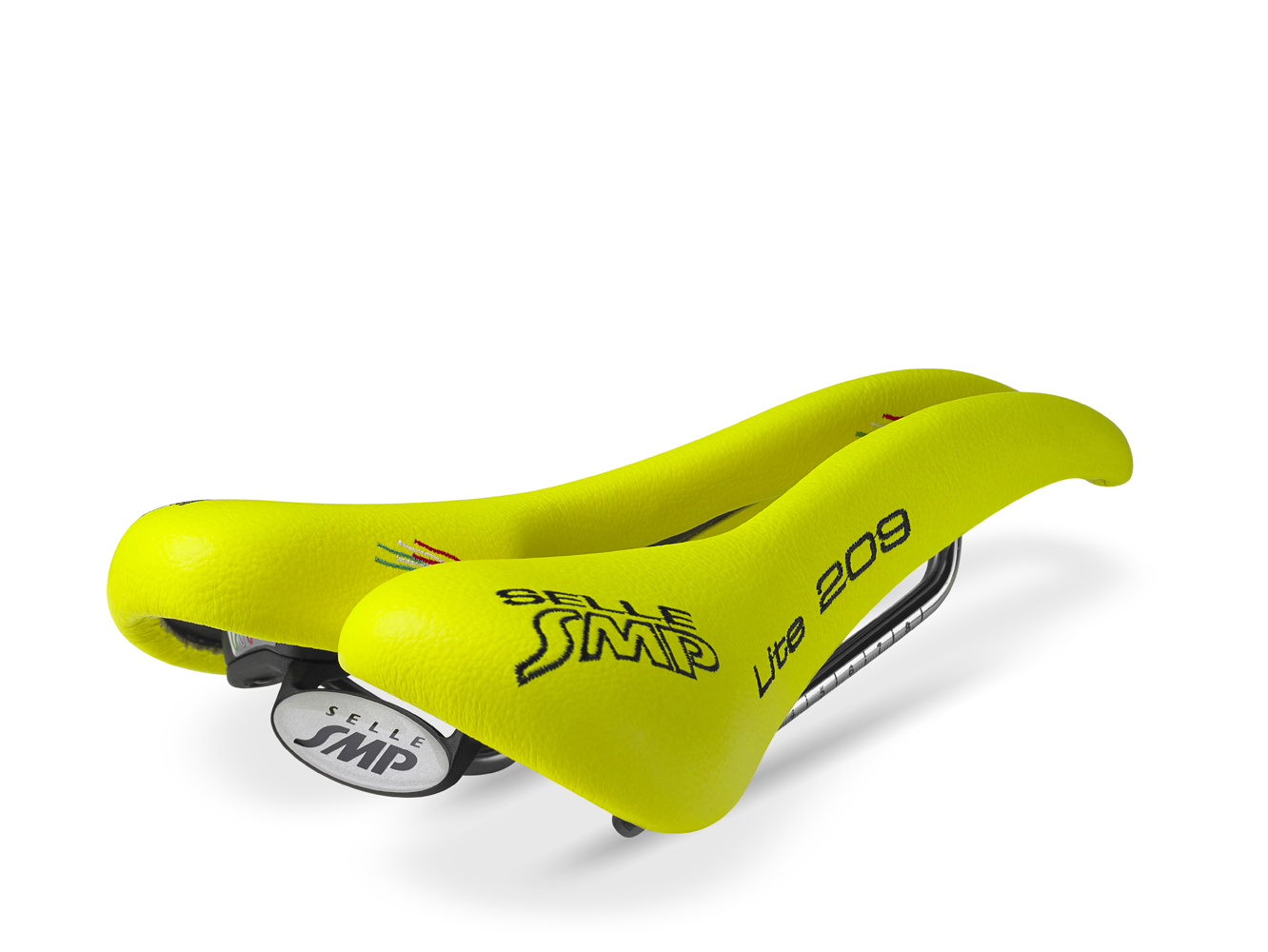 selle smp lite 209 bicycle saddle fluorescent yellow synthetic road mountain ebay. Black Bedroom Furniture Sets. Home Design Ideas